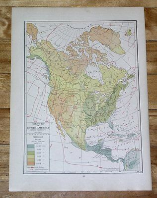1918 Map North America Usa Canada Climate Weather