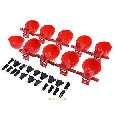 10PCS Bird Feed Coop Water Drinking Cup Drinker Automatic Poultry Chicken Fowl #