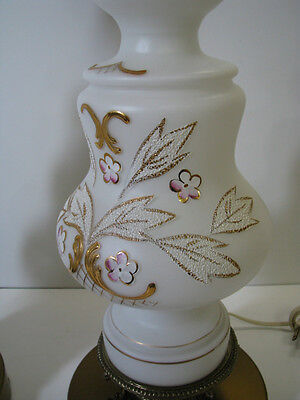 SET/PAIR/2 Vtg White Glass TABLE LAMPS Parlor GOLD PAINTED Brass Koi Fish Base