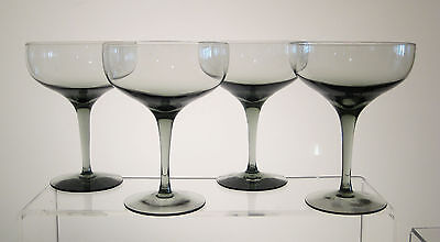 """FANTASY by ORREFORS Champagne Sherbets 5 1/4"""", SET of FOUR, Smoked Glass"""