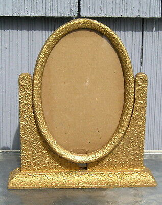 Stunning Vintage Art Crafts Weeping Gold Oval Toggle Picture Frame OLD~Nice