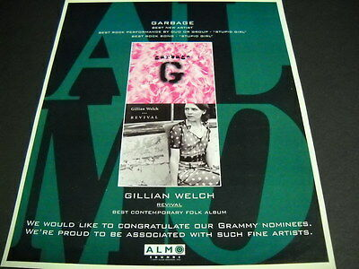 GARBAGE and GILLIAN WELCH are both GRAMMY NOMINEES 1997 Promo Poster Ad mint