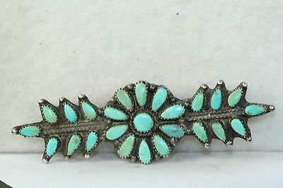 Vintage 1950's Sterling Silver Petit Point Turquoise Southwestern Long Bar Pin