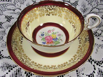 Royal Grafton Burgundy Band Fancy Gold Floral Tea Cup And Saucer