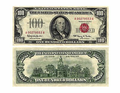 1966 $100.00 United States Note LEGAL TENDER (RED SEAL) Fr#1550 Circulated  VF+