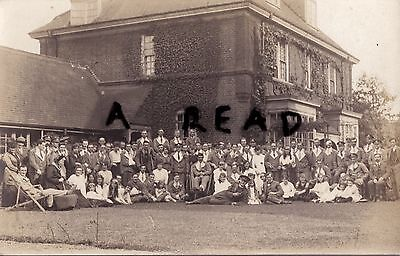 WW1 wounded soldiers hospital blues with Ladies & Army Chaplain West London