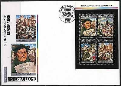 SIERRA LEONE  2017  500th ANNIVERSARY OF THE REFORMATION MARTIN LUTHER SHT  FDC