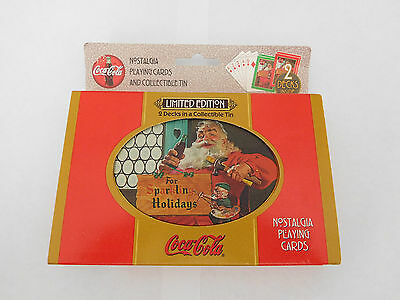 1998 Limited Edition Nostalgia Playing Cards Tin Coca Cola Santa 2 Decks  NIB