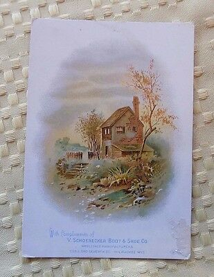 Victorian Trade Card, V. Schoenecker Boot and Shoe Co., Country Cottage Scene