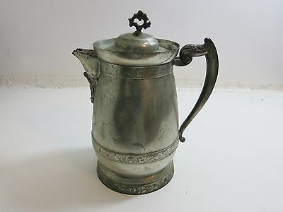 ANTIQUE MIDDLETOWN PLATE CO SILVERPLATE ICE WATER PITCHER JUG WITH LID (n2)