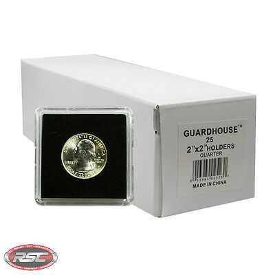 25 - GUARDHOUSE 2x2 TETRA PLASTIC SNAPLOCK COIN HOLDER for QUARTER