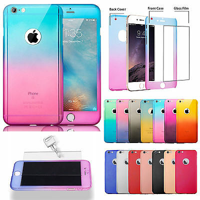 New 360°Hybrid Shockproof Case +Tempered Glass Cover For iPhone 7 6 6s Plus 5 5s