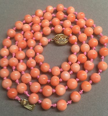 Vintage Chinese Natural Genuine Coral Bead Necklace 32 Grams