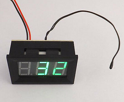 US Stock Green Led Digital Fahrenheit Temperature Meter 0 - 167 ℉ With Probe
