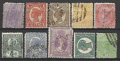 QUEENSLAND Collection 10 Different COLONIES STATES Stamps Used (Lot 9)