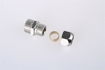 """3/8"""" BSP Male Threaded 14mm Tube Straight Pneumatic Connector Hose Quick Coupler"""