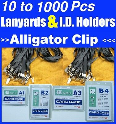 BULK 10 to 1000 BLACK Lanyards With Alligator Crocodile Steel Clip & ID Holders