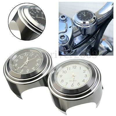 1Pc Motorcycle Motorbike Handlebar Mount Round Dial Night Lights Clock w/ Wrench