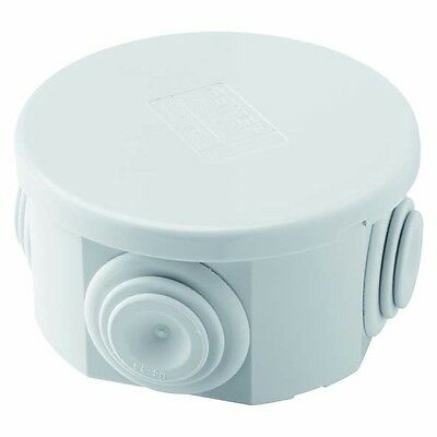 Small Round Junction Box IP44 Waterproof Outdoor Electrical - Grey Gewiss