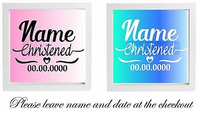 Vinyl Sticker Fits 20 x 20cm DIY Box Frame CHRISTENING Vinyl - Personalised