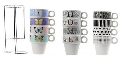 Set Of 4 Stacking Butterfly Home Tea Coffee Cups Mug With Metal Stand Holder