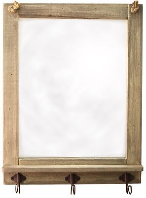 48Cm X 37Cm Shabby Chic Wooden Driftwood Mirror With Hooks