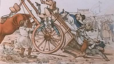 Authentic Georgian Henry Alken 'A Touch at the Fine Arts..Framed Satirical Print