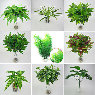Artificial Plant Fake Leaves Foliage Grass Bush Wedding Party Home Garden Decor