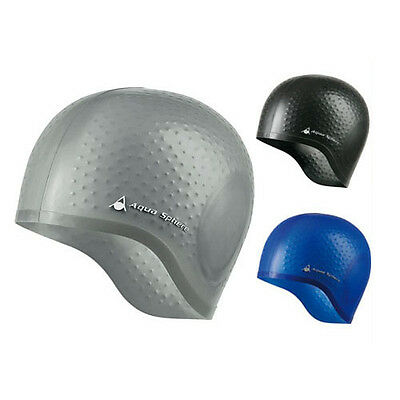 Aqua Sphere Aqua Glide Swimming Caps - Swim Cap Hat Adults Silver Black or Blue