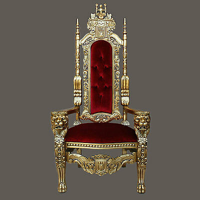 "Gothic Carved Solid Mahogany Wood Lion King Throne Chair - 70""H - Red/Gold"
