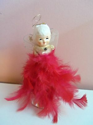"""VINTAGE CHRISTMAS ~ 6.5""""  CHINA HEAD ANGEL w/ RED FEATHERS FIGURINE DECORATION"""