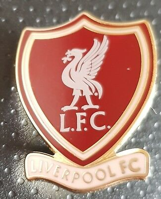 Liverpool Pin Badge -Red and Gold Shield with  White Liverbird and Liverpool FC