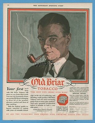 1928 United States Tobacco Richmond VA Old Briar Pipe Adolph Treidler print ad