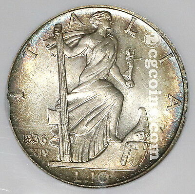 1936 NGC MS 64  ITALY Silver 10 Lire Coin (17040302C)