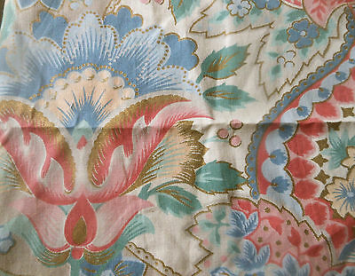 Vintage Retro French Arabesque Floral Cotton Fabric ~ Rose Blue Green Gold