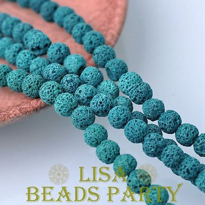 30pcs 8mm Round Lava Stone Natural Gemstone Loose Spacer Beads Peacock Blue