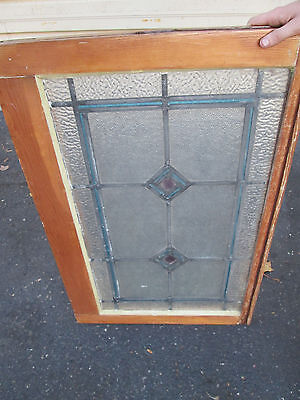 54576 Antique Leaded Stained and Textured Glass Stain Glass Window circa 1910