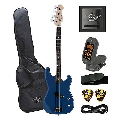 Artist PB2 Blue Electric Bass Guitar with Accessories - New