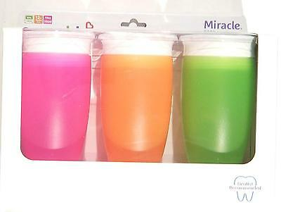 Munchkin Miracle 360 BPA Free Sippy Cup 10 ounce 3 Count Pink Orange Green