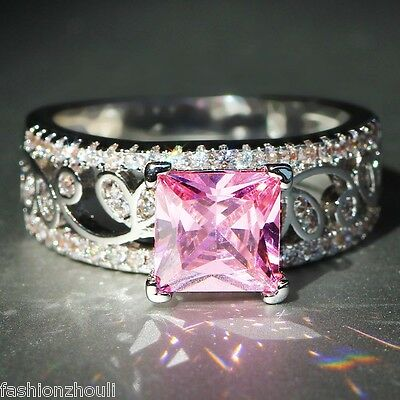 925 Silver Filled Pink Sapphire  Birthstone Engagement Wedding  Heart Ring Gift