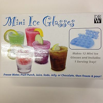 Mini Ice Glasses 12 Mini Ice Glasses & Serving Tray -Summer Cocktail Party Games