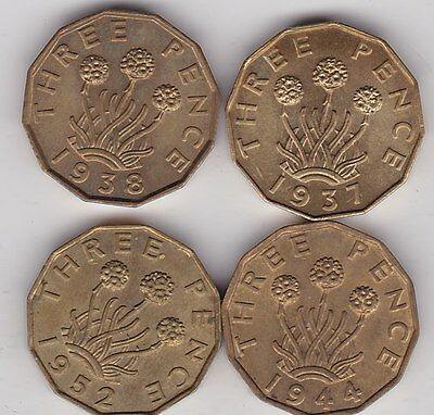 Four George Vi Brass Threepence Coins 1937/1938/1944 & 1952 In High Grade