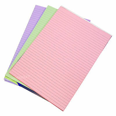 3 x Memory Aid A4 Colour 100 Page Paper Notepad Memo Refill Lined Writing Pads