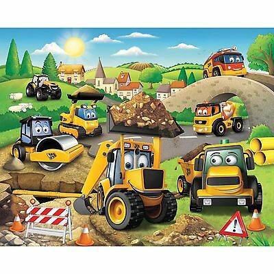 WALLTASTIC JCB WALL MURAL 2.4m x 3.05m KIDS BEDROOM PLAYROOM WALL DECOR