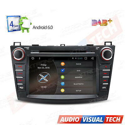 Android 6.0 In Dash Car CD DVD Player Stereo GPS Sat Nav DAB+ Radio for Mazda 3