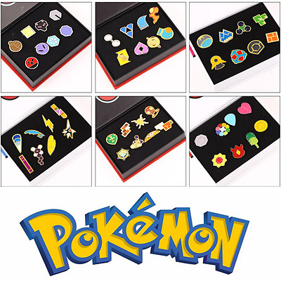 8pcs/Set Anime Pokemon Badges Kanto League Gym Badges Metal Pins Brooch Boxed