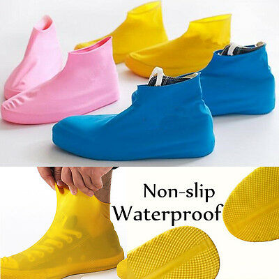Pair Waterproof Shoe Cover Reusable Anti-slip Rain Boot Motorcycle Bike Overshoe