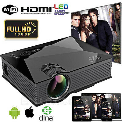 UC46 Wifi Full HD 1080P LED Video Projector Home Theater USB/VGA HDMI Black