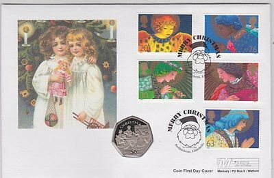 1998 Isle Of Man Christmas 50 Pence Coin & Stamp Cover
