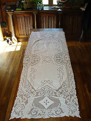 "long antique embroided batiste and lace runner tablecloth 70"" x 24"" -  mermaids"